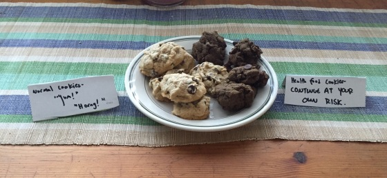 """""""Normal cookies-'Yum!''Horay!'"""" // """"Heath food cookies- continue at your own risk"""""""