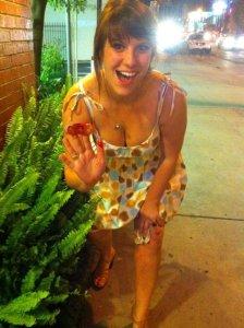 2011= bangs and polka dot dresses at Happy Endings